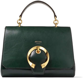 Jimmy Choo MADELINE TOPHANDLE Dark Green Calf Leather Tophandle Bag with Metal Buckle
