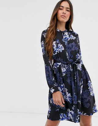 French Connection floral mini shirt dress-Blue