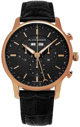 Stuhrling Original Alexander Watch A101-04, Stainless Steel Rose Gold Tone Case on Black Embossed Genuine Leather Strap