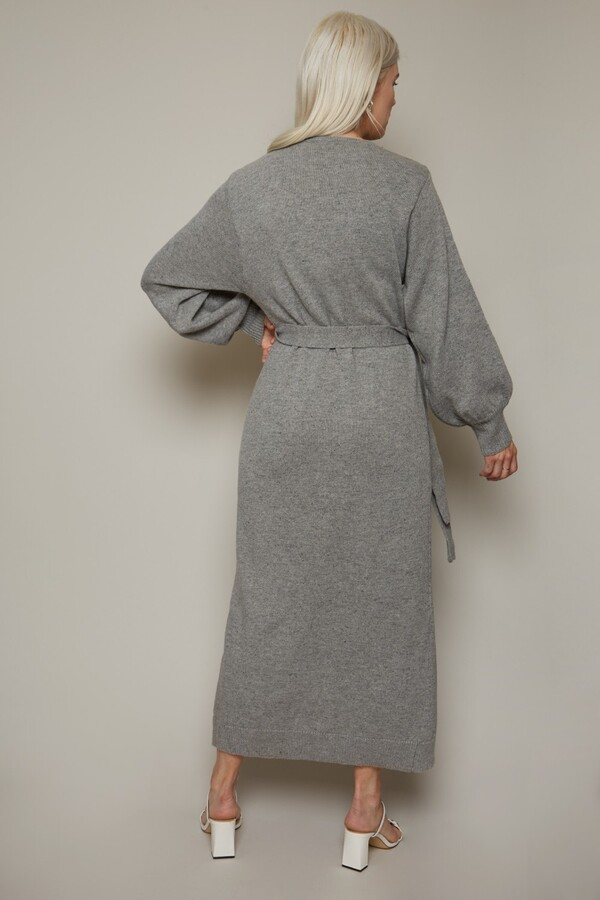 Thumbnail for your product : Little Mistress Finlay Grey Long Sleeve Wrap Midi Dress