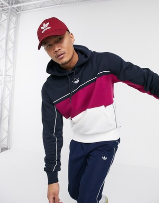 adidas rivalry hoodie with central trefoil logo in navy-White