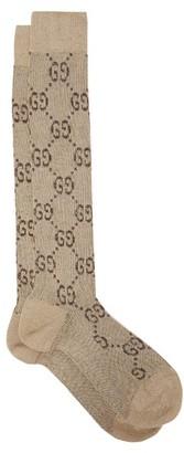 Gucci GG-intarsia Knee-high Cotton-blend Lame Socks - Womens - Beige Multi