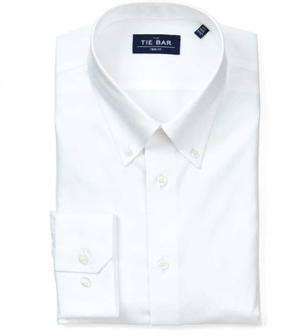 Tie Bar Pinpoint Solid - Button-Down Collar White Non-Iron Dress Shirt