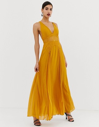 Asos Design DESIGN cami maxi dress in crinkle chiffon with lace waist and strappy back detail-Gold