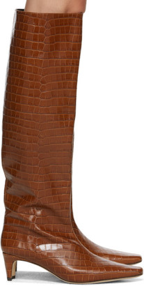 STAUD Brown Croc Wally Boots