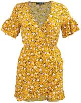 Missguided MUSTARD FLORAL PRINT RUFFLE TEA SHIFT Summer dress mustard