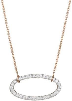 ginette_ny 18K Rose Gold & White Diamond Ellipse Pendant Necklace