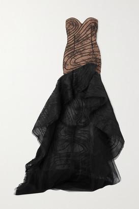 Oscar de la Renta Strapless Asymmetric Lace And Flocked Tulle Gown - Black