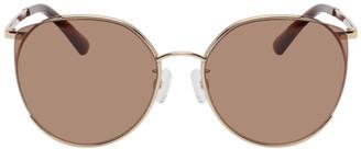 McQ Brown Round Iconic Gravity Bar Sunglasses