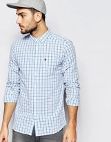 Jack Wills Seersucker Check Shirt In Classic Regular Fit In Blue