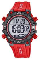 Calypso Men's Digital Watch with LCD Dial Digital Display and Red Plastic Strap K5701/2