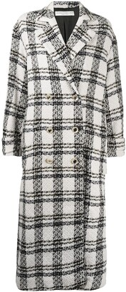 Alessandra Rich Double-Breasted Check Coat
