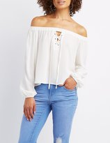 Charlotte Russe Off-The-Shoulder Lace-Up Top