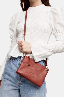 Topshop LILY Rust Soft Leather Cross Body Bag