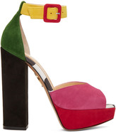 Charlotte Olympia Multicolor Suede Eugenie Platform Sandals
