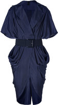 Donna Karan Ink Blue Belted Cocoon Dress