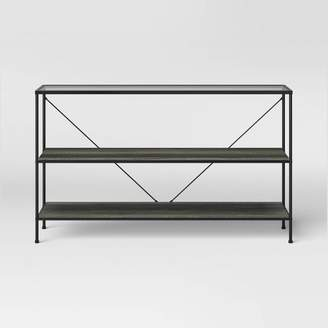 Project 62 Fulham 2 Shelf Glass Top Horizontal Bookcase with Wood Shelves Black - Project 62TM
