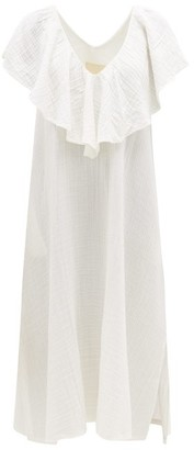 BRIGITTE Anaak Ruffle V-neck Cotton-muslin Dress - Womens - White