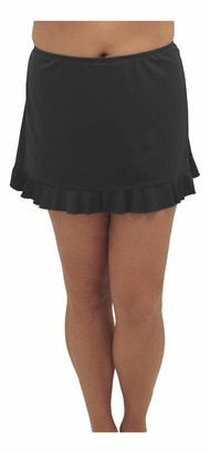 Fit 4 U Women's Plus Size Solid Swim Skirted Bottom with Flounce