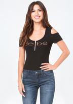 Bebe Logo Bare Shoulder Bodysuit