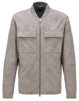 HUGO BOSS Blouson Style Jacket In Suede - Dark Blue