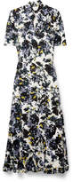 Erdem Ruffled Floral-print Crepe De Chine Midi Dress - Purple