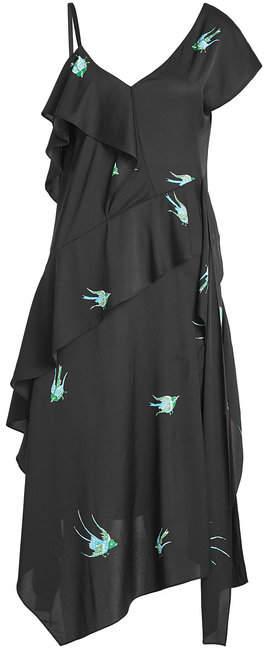 Diane von Furstenberg Printed Asymmetric Dress with Silk