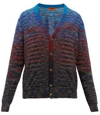Missoni Striped Space-dyed Wool-blend Cardigan - Blue Multi