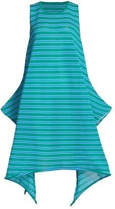 Issey Miyake Crispy Stripe A-Line Tank Dress