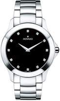 "Zales Men's Movado Masinoâ""¢ Diamond Accent Watch with Black Dial (Model: 0607036)"