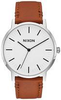 Nixon White Sunray Porter Leather Watch