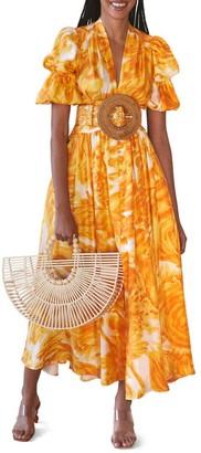 Cult Gaia Willow Brushstroke Belted Midi Dress
