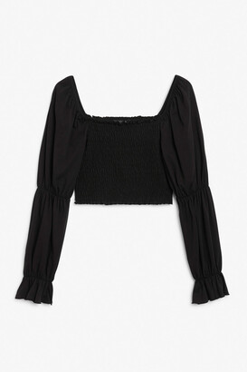 Monki Ruched peasant top