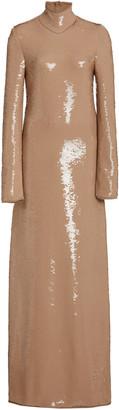 Bottega Veneta Sequined Maxi Turtleneck Dress