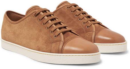 John Lobb Levah Cap-Toe Leather and Suede Sneakers - Light brown