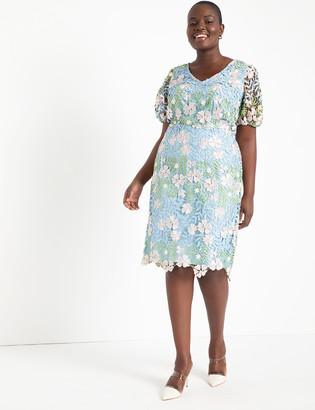 ELOQUII Lace Puff Sleeve Dress