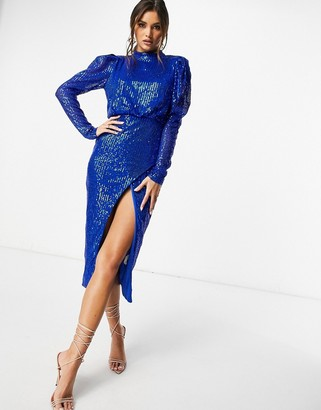 I SAW IT FIRST high-neck side-split sequin midi dress in blue