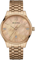Bulova Diamonds Womens Diamond-Accent Rose-Tone Stainless Steel Bracelet Watch 97P113