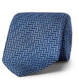 Ermenegildo Zegna 7cm Herringbone Silk Tie - Blue