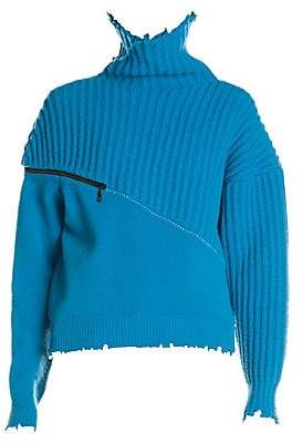 Unravel Project Women's Wool & Cashmere Hybrid Zip Sweater