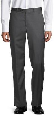 Armani Collezioni Flat-Front Wool Pants