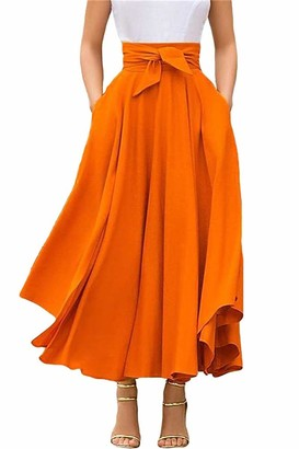 Geagodelia Women's Skirt Long High Waist Maxi Skirt Bowknot A-Line Pleated Skirt High Waist Plain Rockabilly Skirt - Orange - S