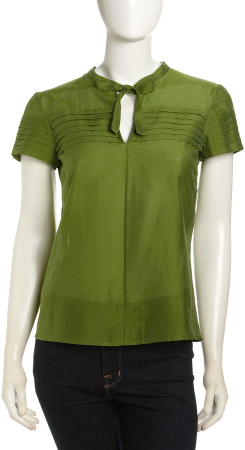 Moschino Cheap & Chic Caftan Neck Blouse, Emerald