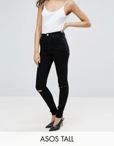 Asos TALL RIDLEY High Waist Skinny Jean In Clean Black With Ripped Knees