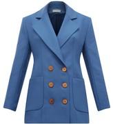 Vika Gazinskaya Double-breasted Wool-twill Blazer - Womens - Blue