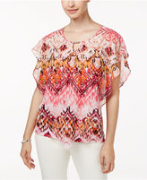 NY Collection Petite Printed Layered-Look Poncho Top