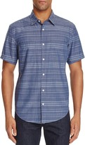 7 For All Mankind Stripe Chambray Regular Fit Button-Down Shirt