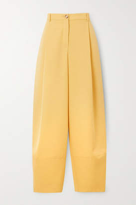 Nina Ricci Pleated Grain De Poudre Wool Tapered Pants - Pastel yellow