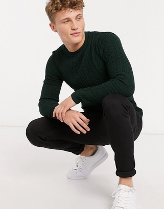ASOS DESIGN muscle fit lightweight cable sweater in dark green