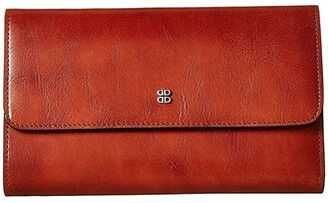 Bosca Old Leather Checkbook Clutch (Amber) Clutch Handbags